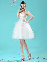A-Linie-Brautkleid aus mit Schößchen knielang in Elfenbeinfarbe Milanoo