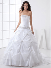 Ball Gown Strapless Beading Taffeta Wedding Dress