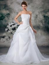 Brautkleider Prinzessin Weiß trägerlos Brautkleider Hochzeit Organza Brautkleider große Größen mit Court-Schleppe ärmellos und Schnürung A-Linie-