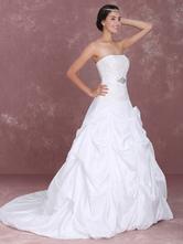Robe de mariée fabuleuse boule en taffetas blanc avec applique bustier traîne chapelle