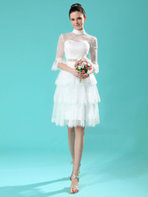 Ivory A-line High Collar Tiered Beading Lace Bridal Wedding Gown  Milanoo