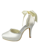 Elegant Platform Round Toe Rhinestone Satin Bridal Wedding Shoes