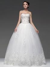 Vestido de noiva marfim de Sequin Strapless de silhueta de princesa do assoalho-comprimento