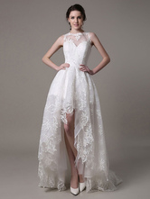 2021 Lace High-low Wedding Gown With Llusion Neckline And Back Milanoo