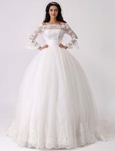 Vestido de novia con escote transparente Milanoo