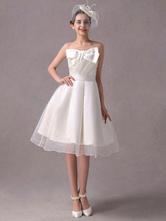 A-Linie-Brautkleid aus mit trägerlosem Design und Schleife knielang in Elfenbeinfarbe Milanoo