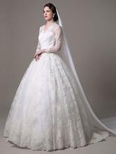 Robe de mariée princess en dentelle blanche manche longue boutonné sur dos longueur au sol Robe de mariage