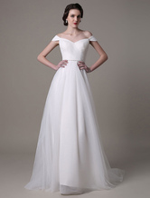 2021 Tulle Off Shoulder Wedding Dress With Pearls Belt And Sweep Train