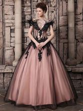 Abito da Sposa Nero Abito da Galà roso elegante lussuoso in tulle con spalline e perline Milanoo