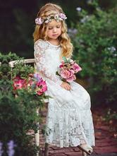 Boho Flower Girl Dress Lace Ivory Long Sleeve Pleated A Line Pageant Dress With Bowed Sash