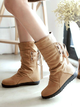 Women Boots Apricot Mid Calf Boots Round Toe Lace Up Flat Boots