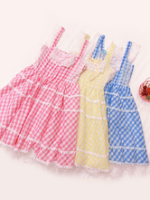 Sweet Lolita JSK Dress Plaid Bows And Lace Pink Lolita Jumper Skirts