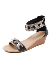 Sandálias de cunha para mulheres Chic PU Leather Monk Strap Metálico Toe Open Skid Resistant