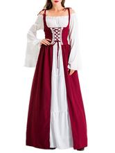 Vestido retrô medieval vestido renascentista ata acima traje vintage