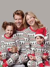 Pyjama de Famille Femmes Noël 2021 Ensemble 2 pièces Rouge Imprimé Les Rayures Motifs Top et Pantalons Déguisements Noël