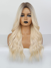 Long Wig For Woman Light Gold Centre Parting Heat-resistant Fiber Bohemian Tousled Long Synthetic Wigs