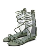 Sandálias gladiador Preto Sandália de tiras planas botas femininas