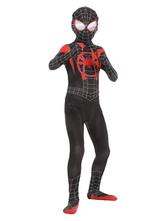 Kinder schwarz Spiderman Kostüm Lycra Spandex Stoff Unisex Zentai Anzug Ganzkörperkostüme