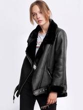 Women Moto Jacket Leather Like Faux Shearling Zipper Buckle Biker Jacket