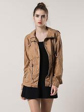 Хаки хлопок куртка с капюшоном шнурок случайных пальто для женщин