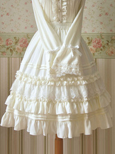 White Ruched Chiffon Lolita SK Dress for Women