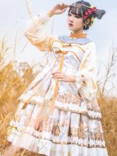 Chinese Style Lolita OP Dress Cross Lily Skeleton Print Qi Lolita One Piece Dresses