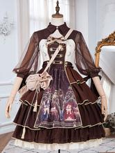 古典的なロリータJSKドレス化学者弓チョコレートロリータジャンパースカート
