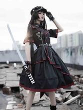 Vestido de estilo militar Lolita OP Conjunto de 3 piezas Cadenas negras Remaches Vestidos de una pieza de Lolita gótica