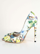 Women Dress Shoes White Pointed Toe Floral Printed High Heels