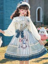 Sweet Lolita JSK Dress Light Sky Blue Animal Print Flowers Lace Up Lolita Jumper Skirts