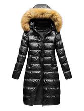 Giacca da donna Black Puffer Coat Cappotto FAUX con cappuccio con cappuccio con cappuccio con cappuccio con cappuccio trapuntato per l'inverno