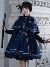 Lolitashow Gothic Lolita Military Style Lolita Coat Deep Navy Crewneck Long Sleeve Polyester Lolita Cape Coat
