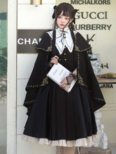 Academic Lolita Poncho Cape Black Polyester Grommets Lace Up Fall Lolita Outwears
