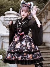 Sweet Lolita JSK Dress 3-Piece Set Black Sleeveless Lace Up Lolita Jumper Skirts Outfits