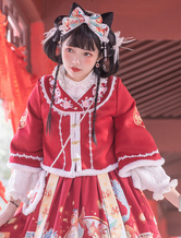 Chinese Style Lolita Coats Burgundy Embroidered Polyester Overcoat Lolita Outwears