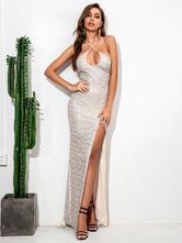 Вечернее платье Серебристое без рукавов из полиэстера на шнуровке с открытой спиной Макси-платье с разрезом и пайетками