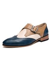 Sapatos Mocassins Masculinos Aconchegantes Couro PU Fivela Xadrez Deslizante Azul Sapatos Casuais De Couro
