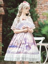 Vestido Lolita OP Doce Lavanda Babados Manga Curta Vestidos Uma Peça Lolita