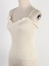 Top da donna con spalline in camicetta albicocca con increspature Camis sexy in poliestere senza schienale