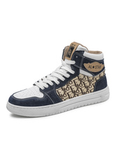 Mens Sneakers Dark Blue Fashion PU Leather Round Toe Skateboarding Shoes