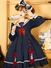 Academy Sweet Lolita OP Dress 2-Piece Set Navy Blue Ruffles Bowknot Lolita One Piece Dresses Outfit