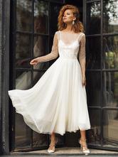 Vestido de noiva em marfim vestidos de noiva com gola em joia mangas compridas sem costas
