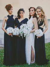 Vestidos de dama de honra lycra borgonha lycra spandex sem mangas vestido até o chão para festa de casamento
