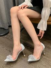 Scarpe da sera con strass con tacco a spillo e tacco a punta in argento con tacco alto da donna