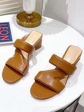 Womens Slipper Coffee Brown PU Leather Chunky Heel Round Toe Slingbacks Casual Mules