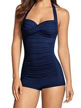 Womens One Piece Swimsuits Navy Blue Pleated Backless Raised Waist Summer Sexy Swimwear