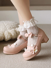 Sweet Lolita Footwear Pink Bowkont Round Toe PU Leather Pompe Lolita