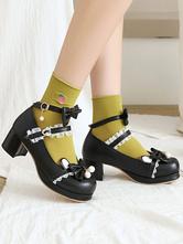 Sweet Lolita Footwear Black Bowknot PU in pelle PU Cuoio Daily Casual Lolita Scarpe