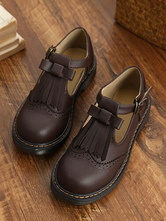 Womens Oxfords Drak Brown Round Toe PU Leather Puppy Heel Lace Up Casual Leather Shoes