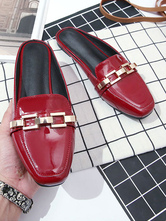 Womens Mules Red PU Leather Square Toe Slip-On Puppy Heel Daily Casual Flat Shoes